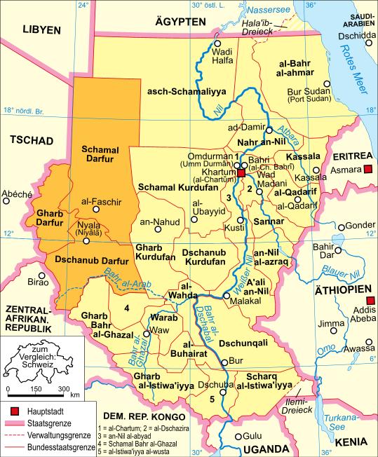 Sudan Karte Politisch Darfur